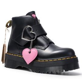 桃心马丁靴女搭扣真皮短靴少女时尚靴子拉链爱心扣厚底英伦风女靴