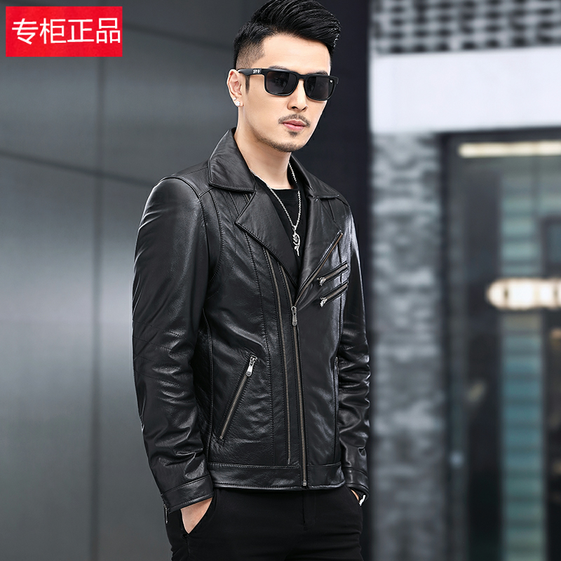 High end brand autumn and winter new mens cool leather coat motorcycle jacket leather jacket jacket slim Lapel leather head