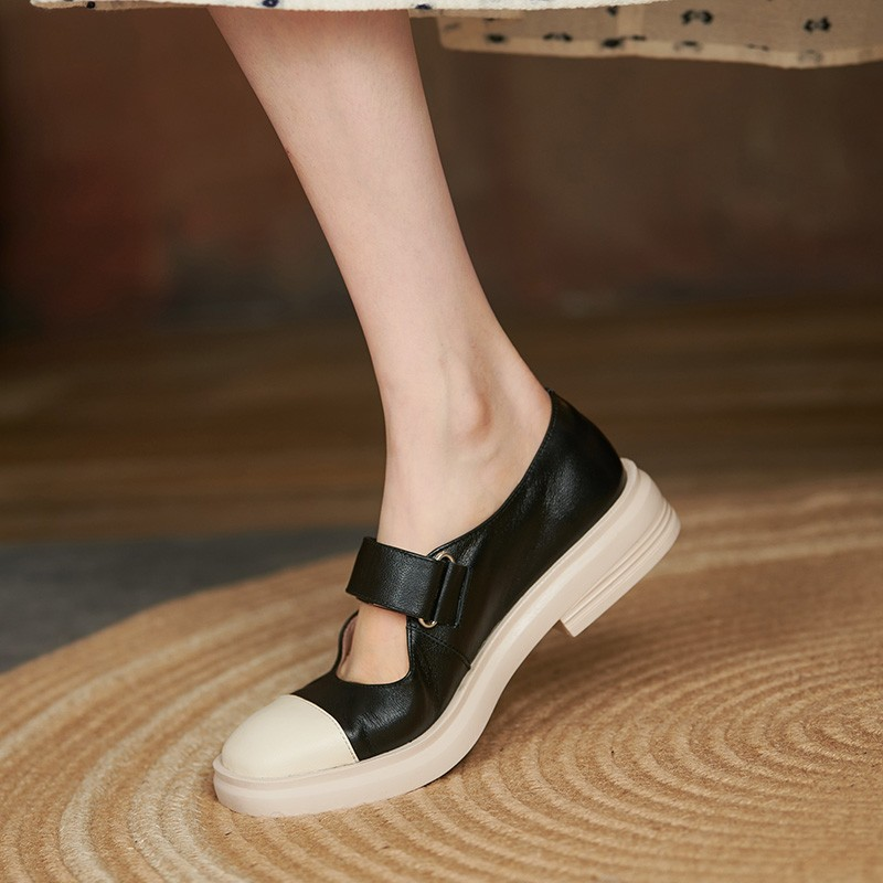 Luxury brand 2021 new British style leather shoes womens spring and summer low heel soft sole leather sweet Lolita