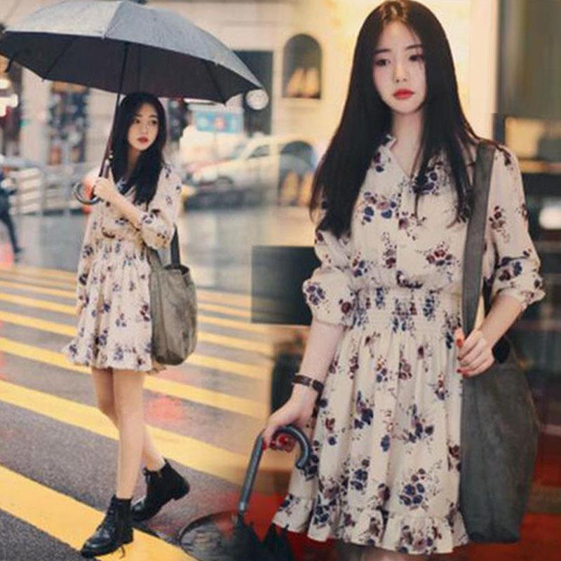 翠花连衣裙女春装2020新款 韩版中长款收腰显瘦气质碎花雪纺A字裙