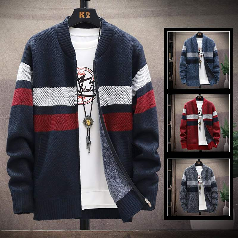 New autumn and winter warm mens clothing Korean zipper color matching mens knitted cardigan Plush thickened jacket