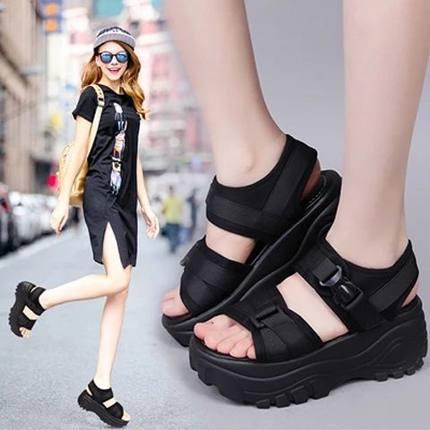 简莱洛2019新款凉鞋女夏厚底增高坡跟松糕运动休闲罗马摇摇沙滩鞋
