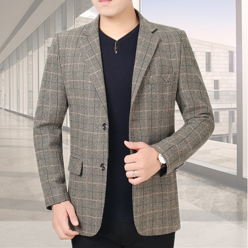 Plaid suit mens middle and old age spring and autumn thin coat Korean version slim casual single small suit Plaid Dad