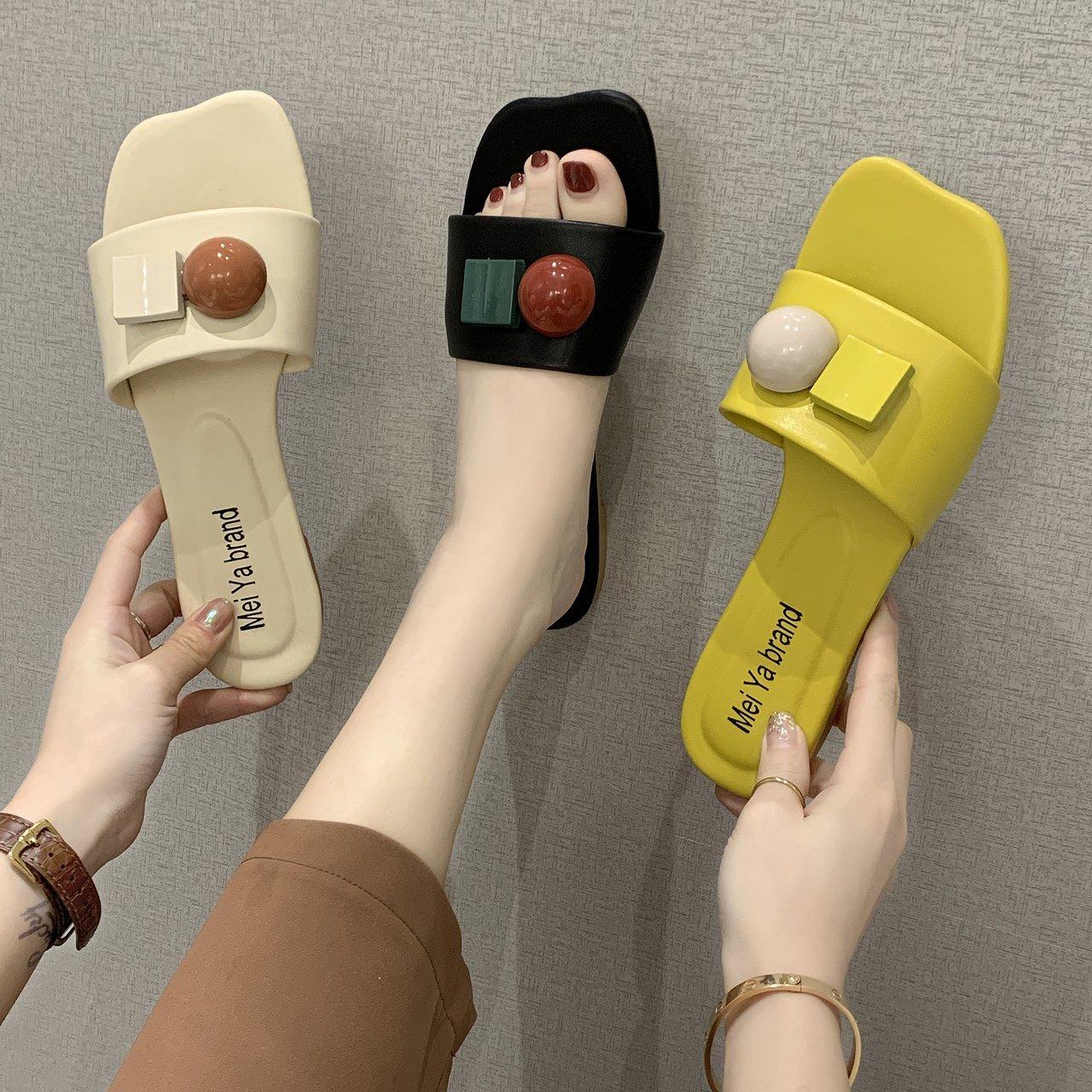 凉鞋女2021年夏季新款时尚休闲百搭学生平底凉拖鞋软底仙女风拖鞋