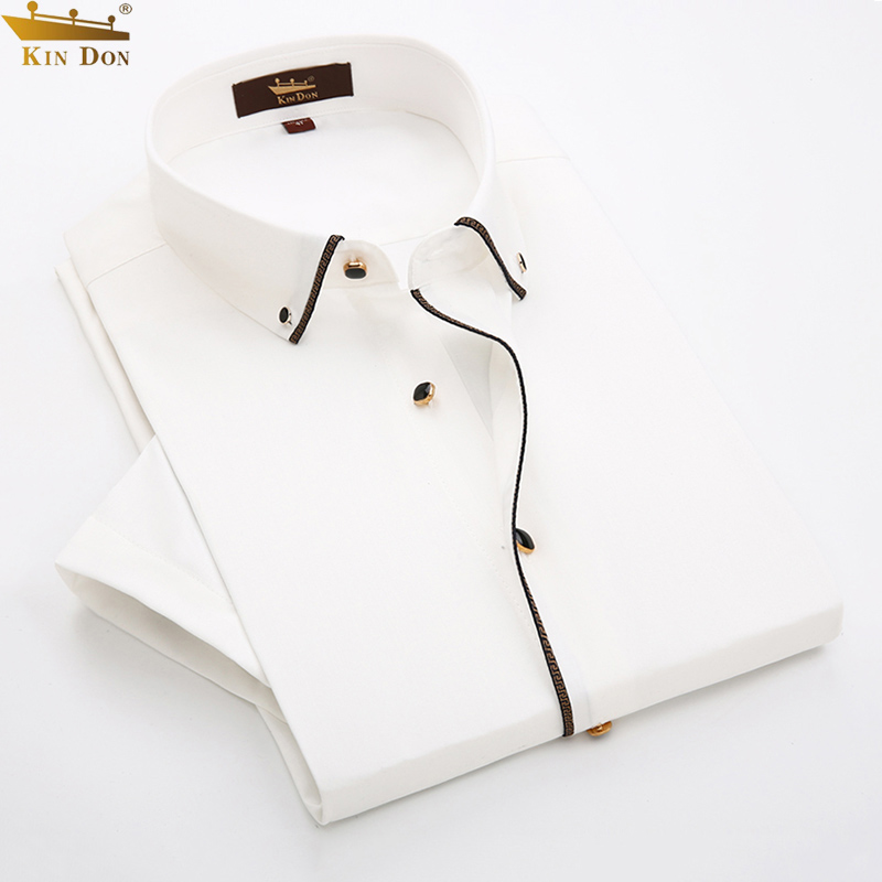 Jindun mens business casual shirt short sleeve handsome, slim fit and easy to wear white shirt edging middle-aged versatile formal dress