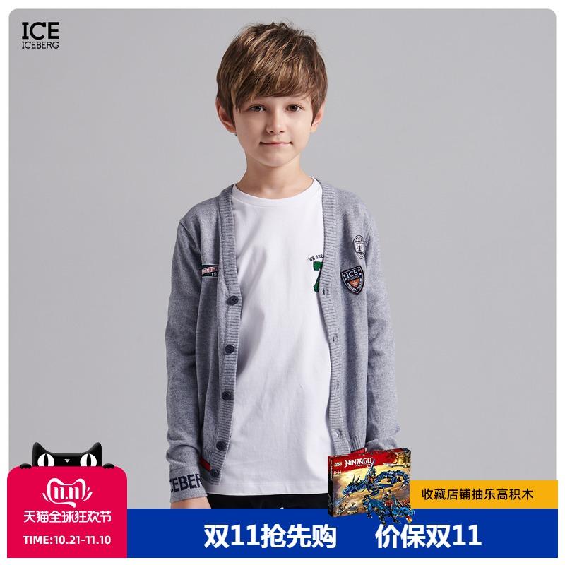 ICE ICEBERG童装秋冬新款男童字母图案贴片撞色针织开衫外套