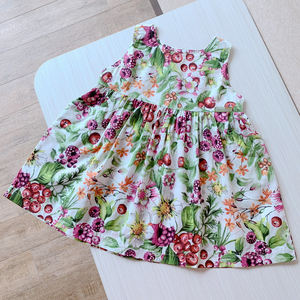 出口童装女童夏季超薄棉纱背心裙宝宝绿色碎花连衣裙1-5岁桑椹果