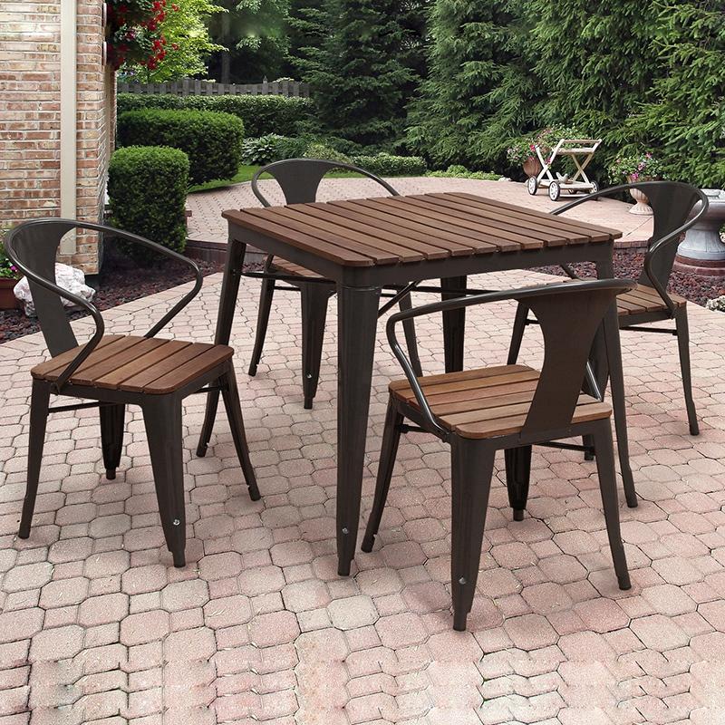 星巴克咖啡店户外桌椅组合5件套 庭院塑木阳台家具露台天室外桌椅