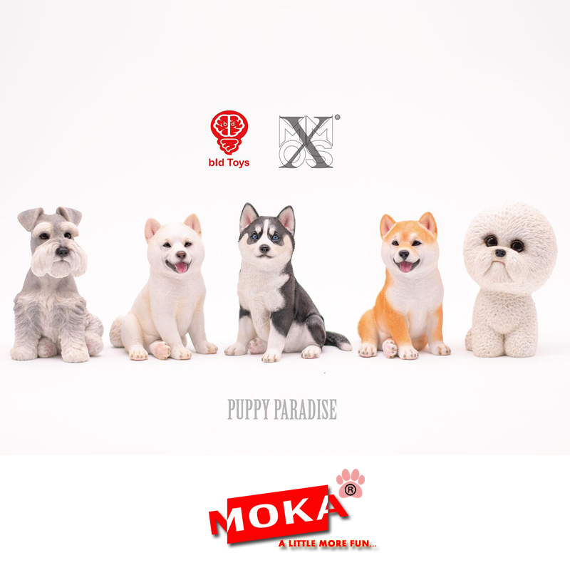 [MOKA动物星球]哈士奇柴犬雪纳瑞比熊模型创意家居车内饰品摆件