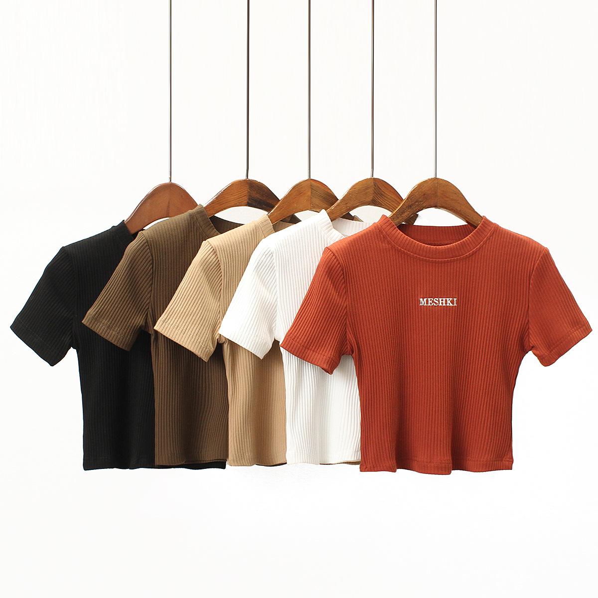 ShirtTTopCropBasicSoildSleeveShortCasualWomens2019