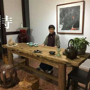 老榆木门板实木复古风化木做旧茶台