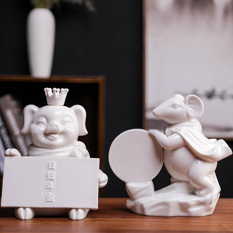 简约家居饰品陶瓷存钱储物罐财猪飞天鼠创意礼品桌面摆件鼠年新品