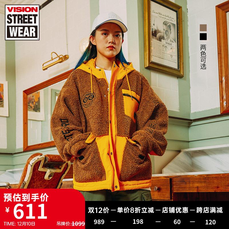 VISION STREET WEAR20秋冬宽松版微落肩羊羔绒撞色棉服