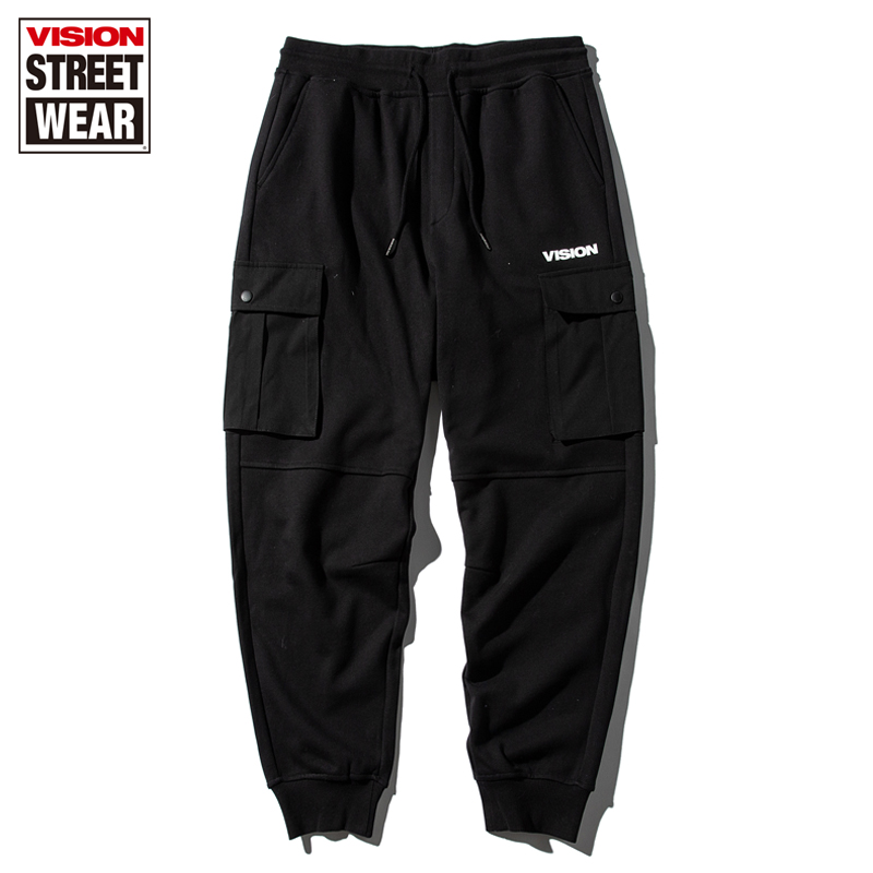 VISION STREET WEAR宽松V76胶印logo工装束脚针织长裤
