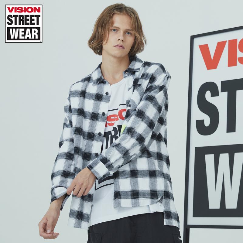 VISION STREET WEAR夏新款品牌LOGO印花休閑襯衫男