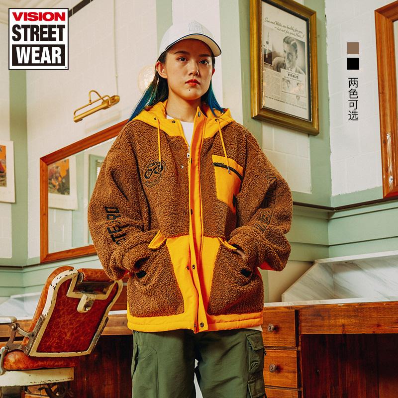 VISION STREET WEAR宽松版微落肩仿羊羔绒撞色棉服