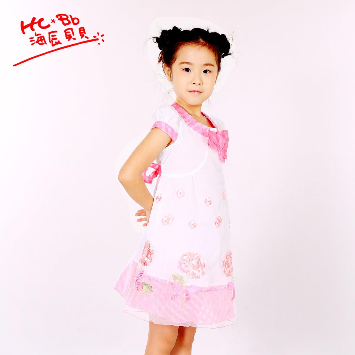 海辰贝贝2021新品女童电脑手推绣花短袖夏季连衣裙女童裙