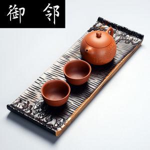 整块平板黑檀木茶盘红木功夫茶具原木实木茶台茶托茶海