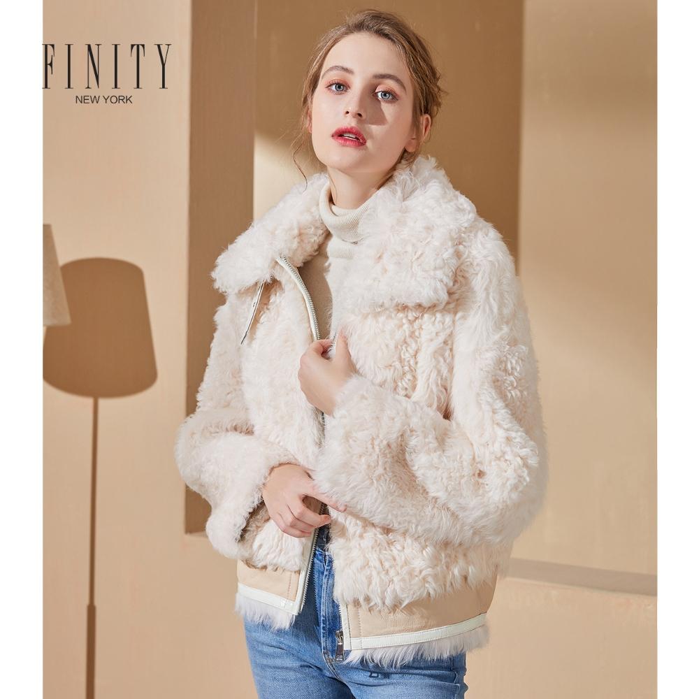 FINITY2019冬装新款皮毛一体皮草外套女士休闲气质米白色短款上衣