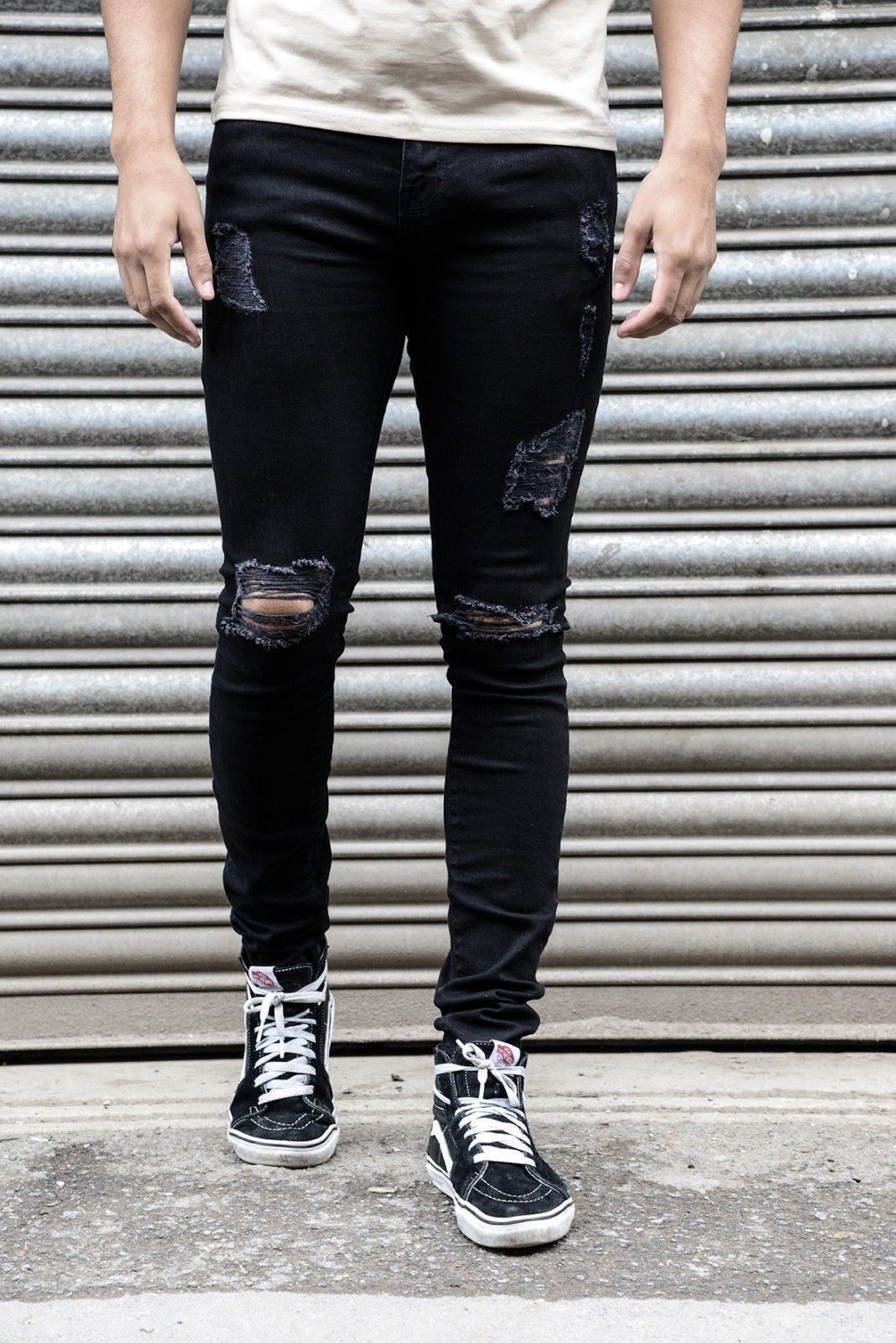 Skin pants mens tight ripped jeans