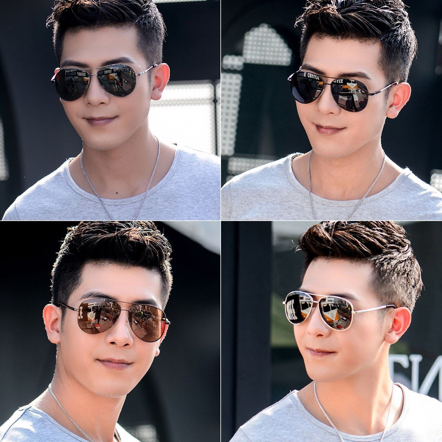 Ultra light mirror driving round eyes male Sunglasses driver middle-aged trendy driving makeup mirror big sun eye environment