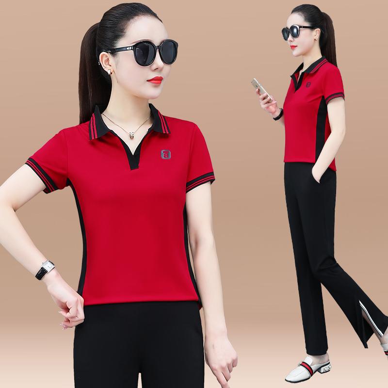 高档专柜运动套装女夏季新款时尚韩版翻领短袖修身显瘦拼色减龄休