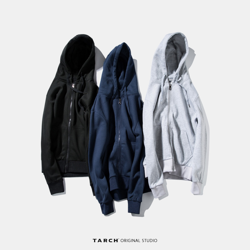 Tarch zipper hooded top mens Plush coat Korean cardigan Hooded Sweater mens trendy students winter wear