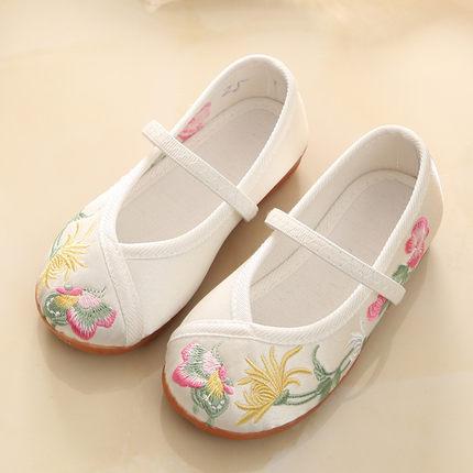 新款女童老北京布鞋儿童绣花鞋民族风传统布鞋童鞋公主宝宝汉服鞋