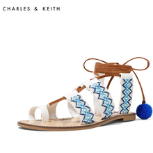 CHARLES & KEITH Spring Sandals CK1-70280002 Ethnic Wind Pinch Toe Flat Bottom Ladder Ball Shoes