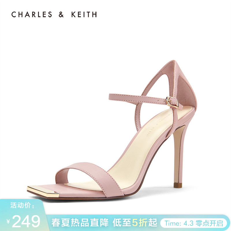 CHARLES & KEITH Sandals CK1-60280180 Simple Word Belt Women's Square Head High-heeled Sandals