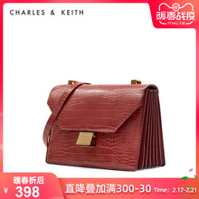Charles & Keith women's bag in autumn and winter ck2-80781000 crocodile face single shoulder organ bag for women