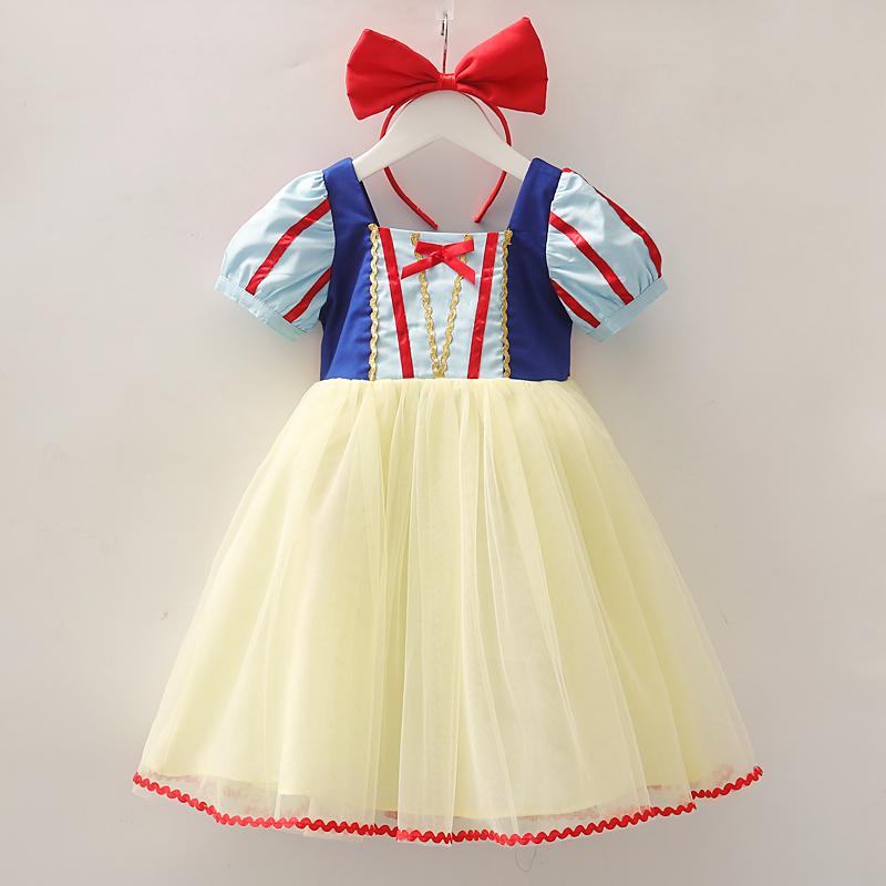 白雪公主裙子儿童夏天短袖冰雪奇缘连衣裙女童蓬蓬纱裙迪士尼礼服