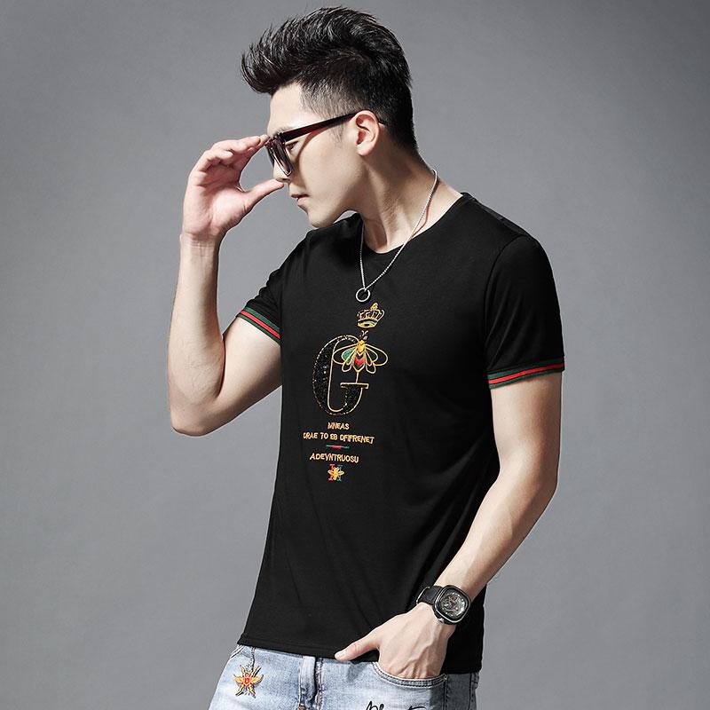 丝光棉短袖T恤男士夏季新款潮流刺绣修身圆领字母条纹半袖体恤衫