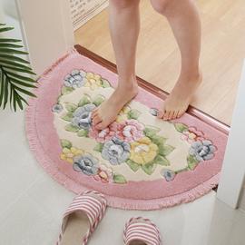家用流苏半圆地垫卧室浴室门垫进门脚垫卫生间门口吸水防滑垫子
