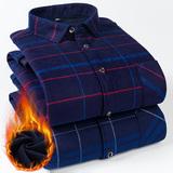 新款冬季男式加绒加厚上衣格子保暖衬衣打底加大码长袖爸爸装寸衫