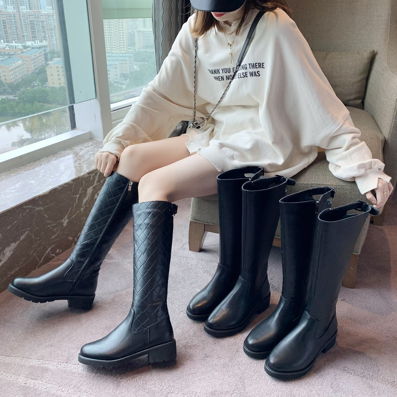 Malings new but knee boots womens slim high Knight boots British style womens boots side zipper high tube womens Boots