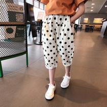 女童波点中裤2020夏装新款儿童韩版宽松哈伦裤中大童洋气七分裤薄