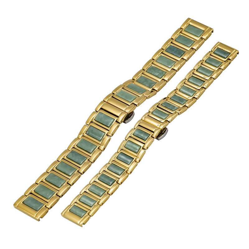 Jadeite watch band mens and womens universal watch chain accessories 20 / 16 fine stainless steel watch chain with jade waterproof