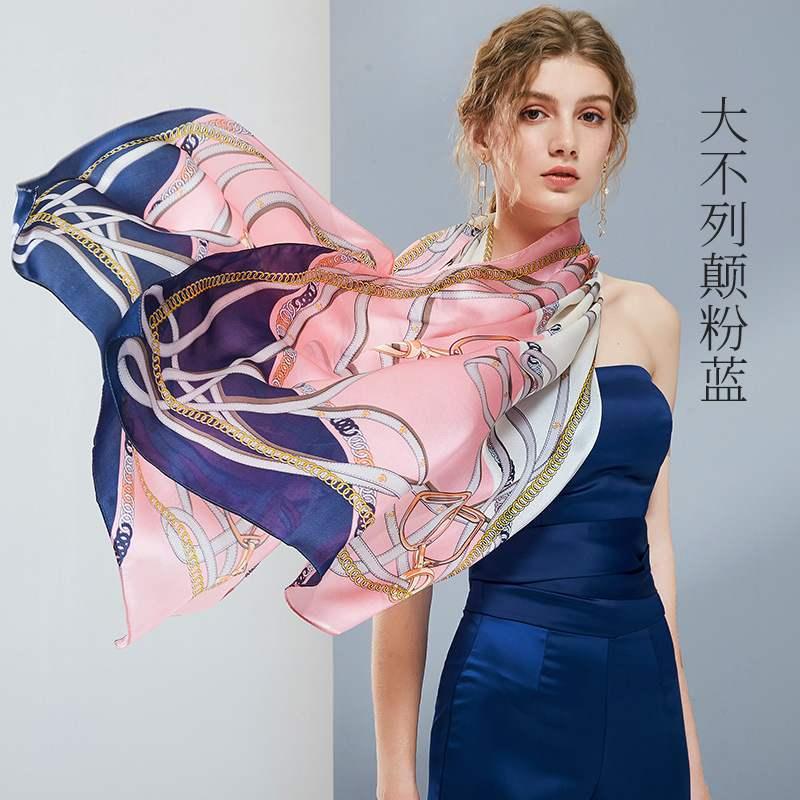 日本购真丝丝巾女新款乔琪缎面桑蚕丝围巾秋季百搭欧式披肩杭州丝