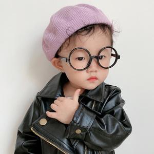 秋冬季儿童针织贝雷帽女宝宝复古毛线公主南瓜帽子女孩画家八角帽