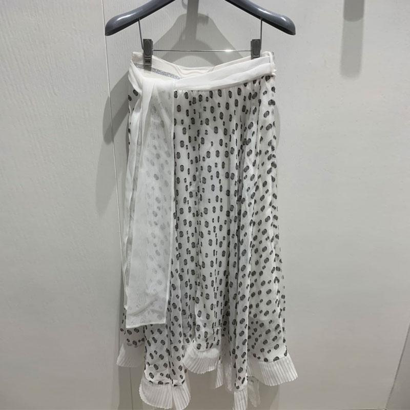 新款女装,-欧阿玛施旗2020春夏新款女装附腰带不规则蕾丝波点高腰雪纺半身裙
