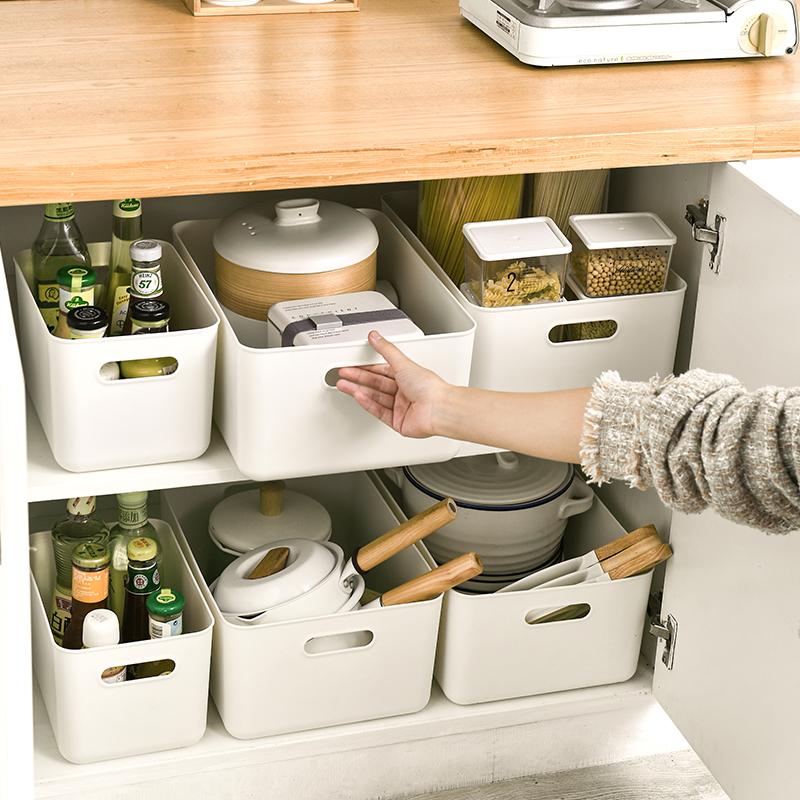 带盖收纳筐小号零食杂物衣服整理箱衣柜收纳盒家用厨房整理储物盒