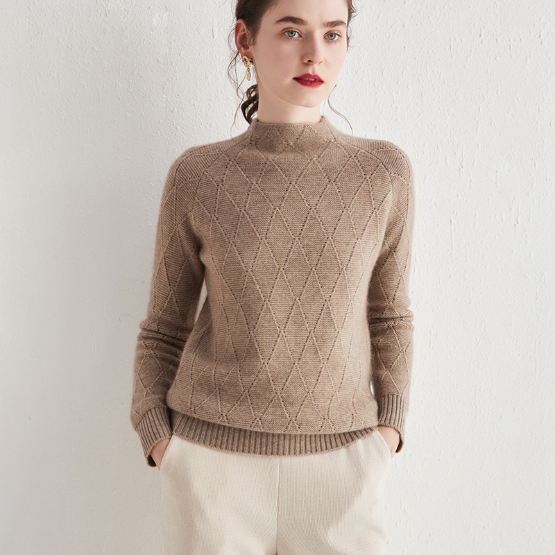 Autumn and winter 2020 cashmere sweater womens half high neck knitted bottomed sweater hollow out short Pullover cashmere round neck sweater