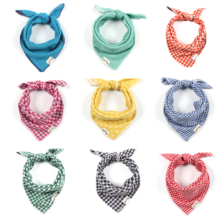 Multifunctional baby triangle scarf Korean pure cotton double layer cotton yarn baby saliva scarf cute boys and girls cotton Headband