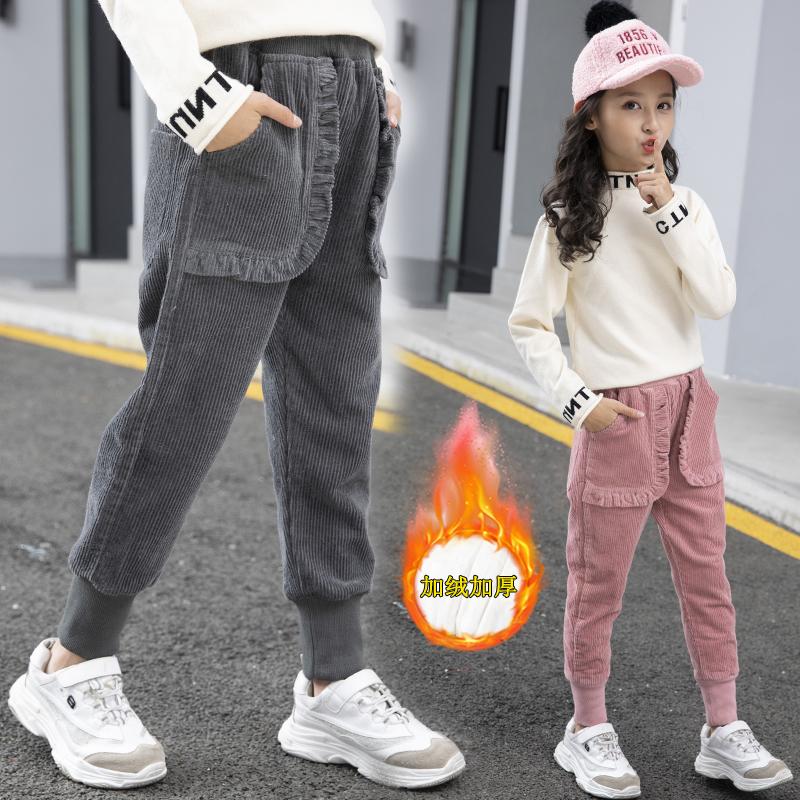 女童加绒加厚裤子外穿洋气2020年新款秋冬宝宝灯芯绒冬季儿童棉裤