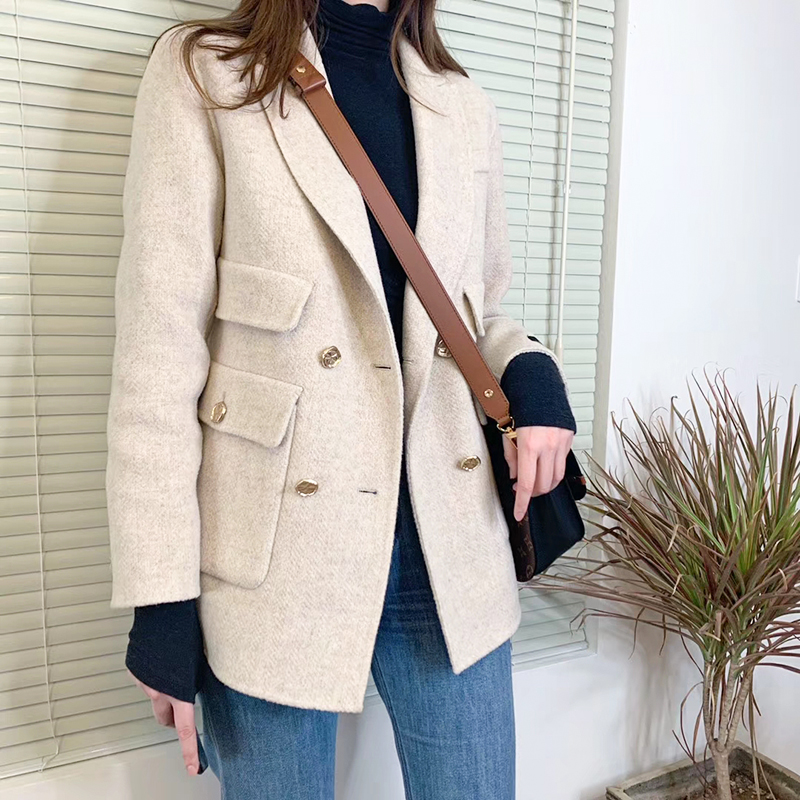 Double faced woolen suit coat for women export to Korea East Gate short full wool multicolor casual cashmere coat commuting