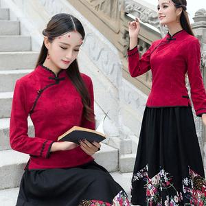 民族风女装秋装中式唐装长袖改良旗袍中国风复古上衣民国汉服显瘦