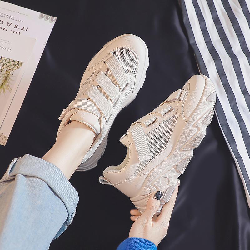 镂空小白鞋女2020年夏季新款百搭网鞋透气网面魔术贴运动老爹女鞋图片