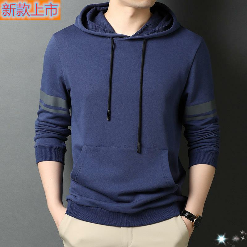 Top grade genuine zhuodanlongchun mens sweater hooded mens Cotton Long Sleeve Polo Shirt four seasons leisure extra wide