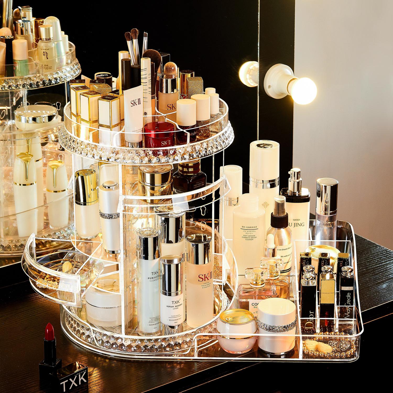 透明旋转化妆品大容量桌面收纳盒(非品牌)
